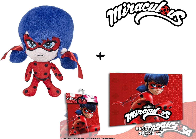 Miraculous Serviette 30x40cm les aventures de Ladybug et Chat Noir Pack peluche Ladybug 7 // 20cm Qualit/é super soft