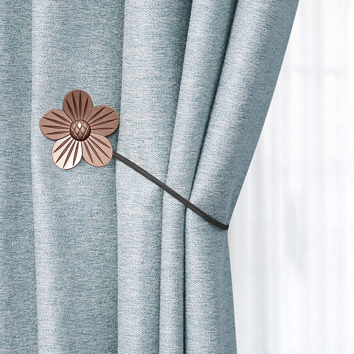 RISHNEG Magnetic Curtain Tiebacks, 4 Pack Resin Flower Vintage Curtain Holdbacks, Decorative Rope Curtain Tieback Window Drape Holdbacks Holders for Home, Office (Red Copper)