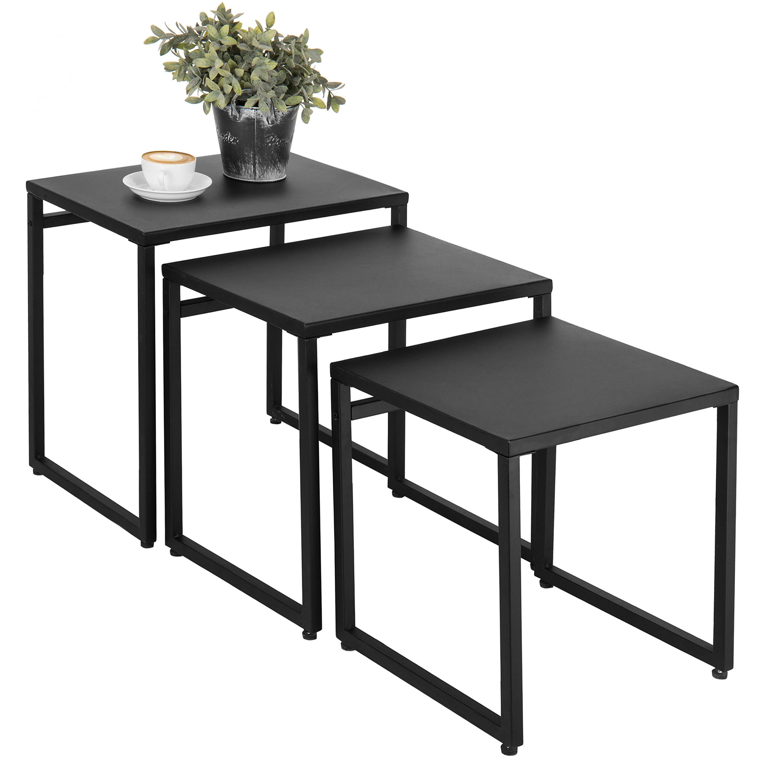 MyGift Set of 3 Black Metal Nesting End Tables by MyGift
