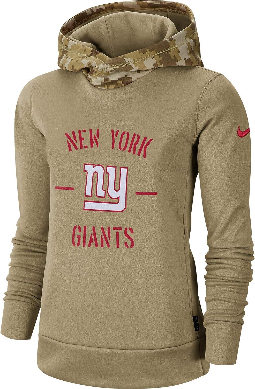 Nike Womens New York Giants Khaki Salute to Service Therma Pullover Hoodie
