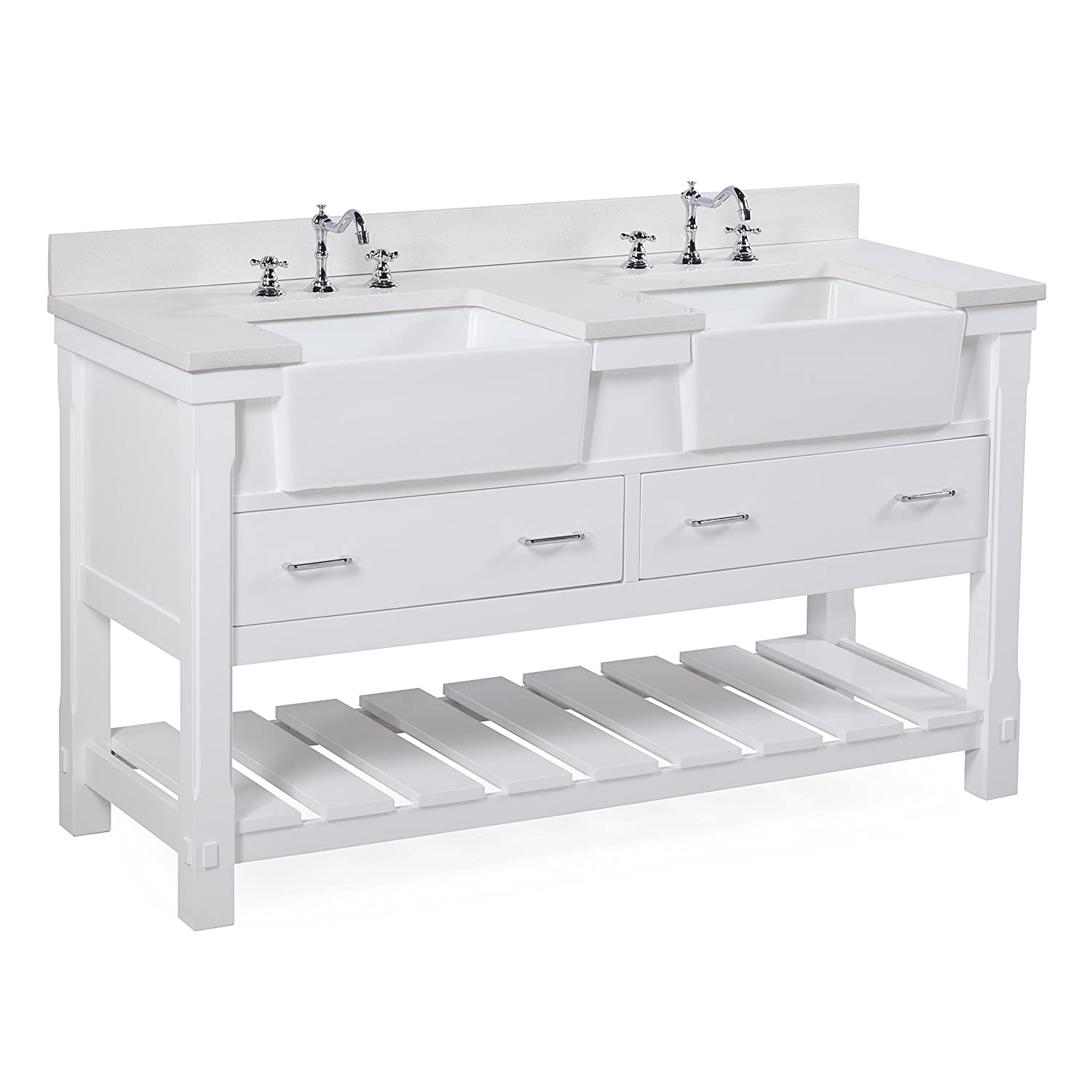 Charlotte 60-inch Double Bathroom Vanity Quartz White Includes a White Quartz Countertop, White Cabinet with Soft Close Drawers, and White Ceramic Farmhouse Apron Sinks