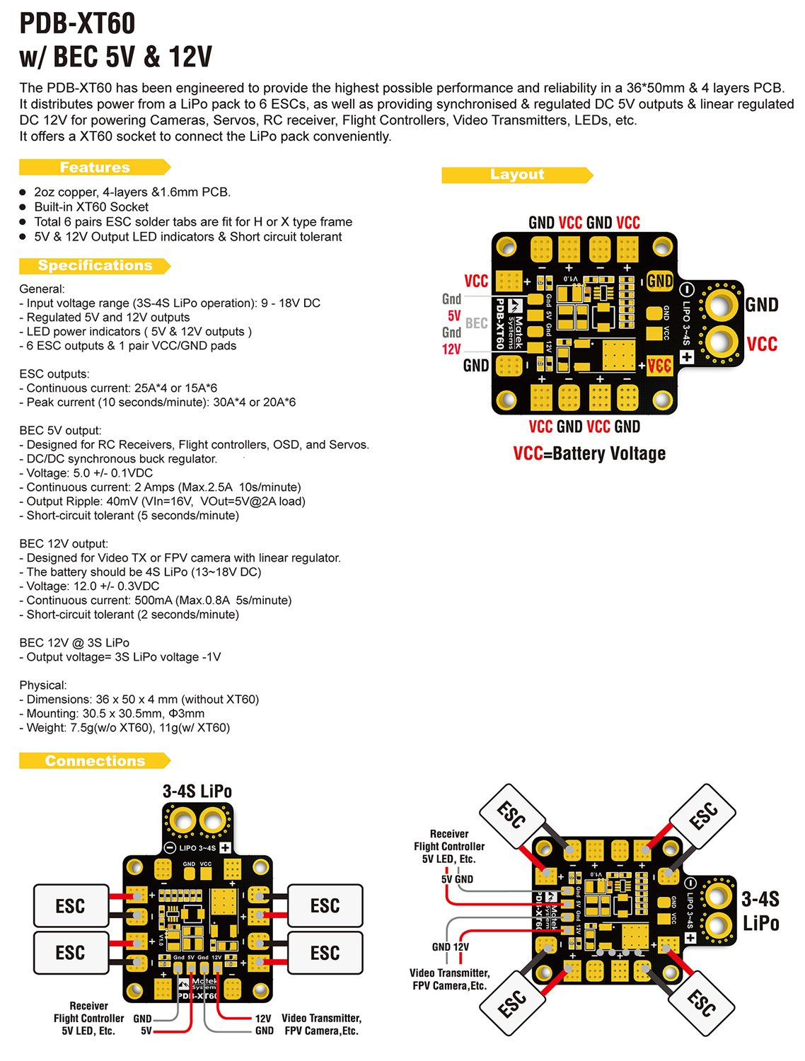 Pdb Xt60 Matek Power Distribution Board 4pcs Sponge Lipo Battery Pack Wiring Diagram Mat Landing Pad Gearsupport 3s 4s Batterybec 5v 2a Linear Regulated 12v 05a With