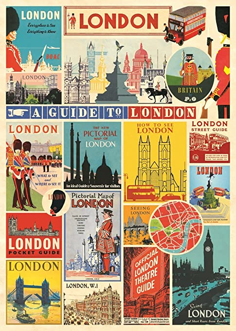 Amazon.com: Cavallini & Co. Londres Collage Decorativos Hoja ...