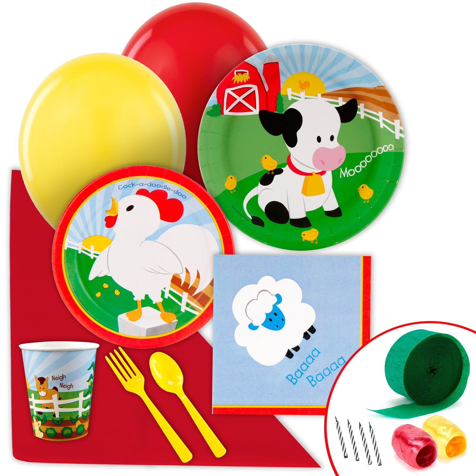 BirthdayExpress Farm Animal Party Supplies - Value Party Pack