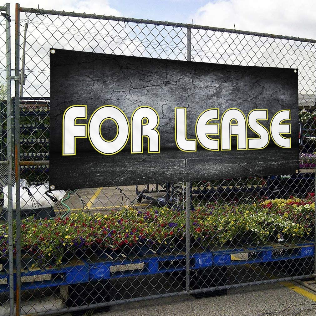 Vinyl Banner Multiple Sizes for Lease Outdoor Advertising Printing J Business Outdoor Weatherproof Industrial Yard Signs Black 10 Grommets 60x144Inches