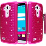 LG G4 Case, Style4U LG G4 Studded Rhinestone Crystal Bling Hybrid Armor Case Cover for LG G4 with 1 Style4U Stylus [Hot Pink / Hot Pink]