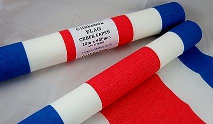 1 Rojo, Blanco, Azul. Bandera Crepe rollo de papel. 49cm x 10metros. Retardante De Llama: Amazon.es: Oficina y papelería