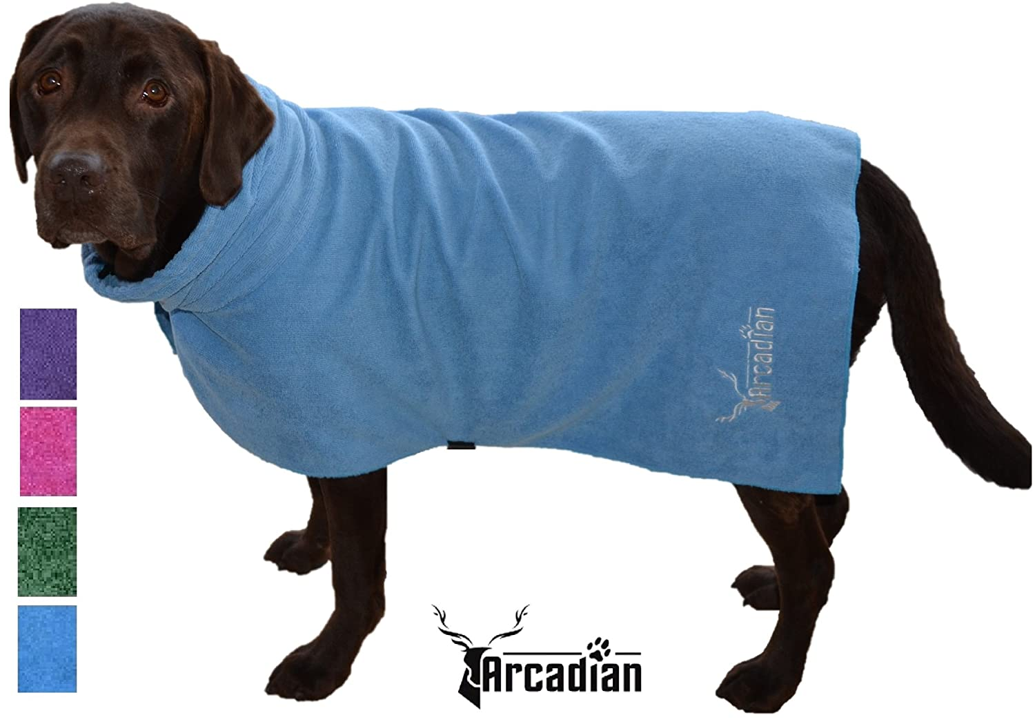 Large Microfibre Dog Robe by Arcadian in Blue and Pink. These ...
