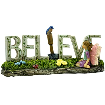 PRETMANNS Fairy Garden Accessories Outdoor – Colorful Fairy Garden Ornaments for Outdoor or Indoor Use - Decorated with a Fairy, a Blue Bird and Flowers – 1 Piece : Garden & Outdoor