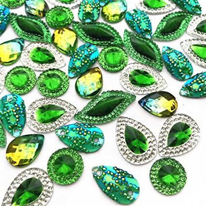 97dc1ead52b5 Amazon.com  Sparkly Clear Faceted Acrylic Sew On