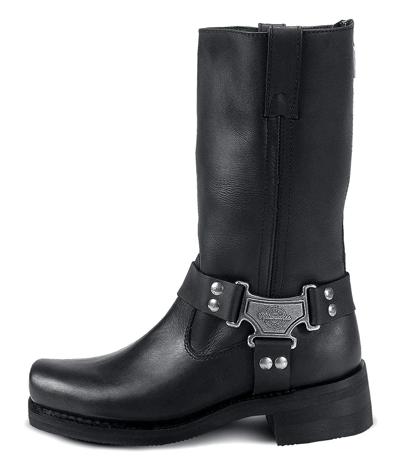 Black, Size 11D Milwaukee Motorcycle Clothing Company Classic Harness Leather Mens Motorcycle Boots