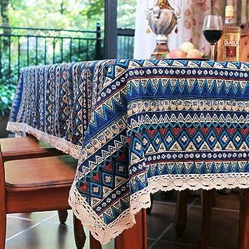 Elome Vintage Square Cotton Linen Lace Bohemian Style Geometric Design  Tablecloth, Washable Tablecloth Dinner Picnic