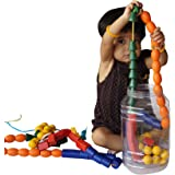 ABC Kids World Wooden 100 Beads of 5 Shapes in a Jar