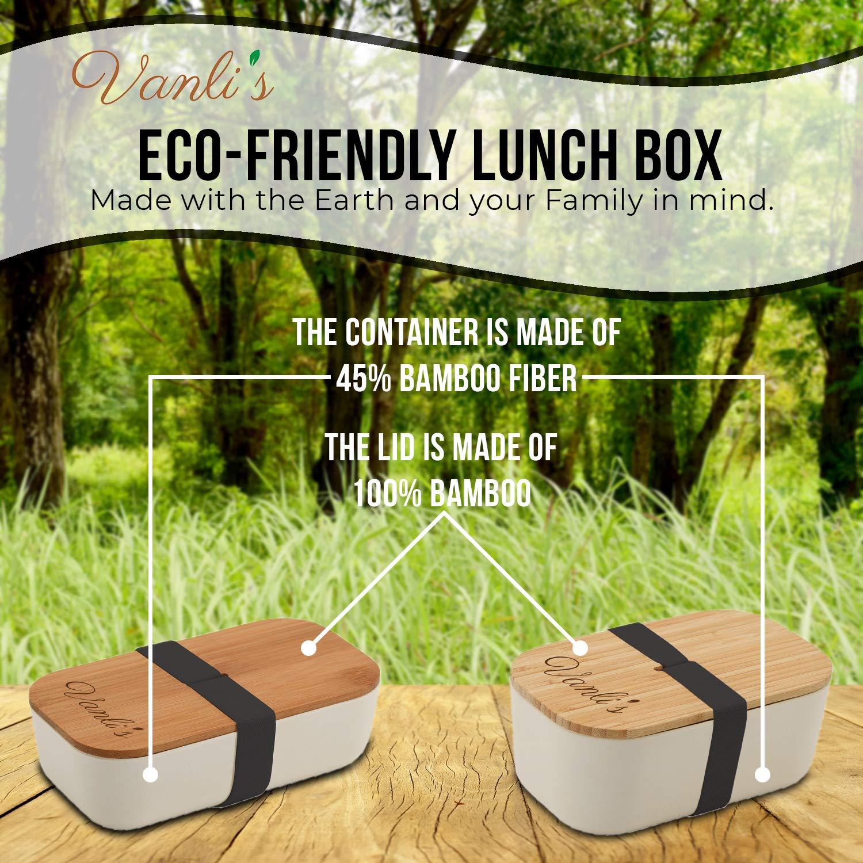 Vanlis Caja Bento de Bambú Ecológico | Fiambrera Reutilizable con Tapa de Madera | Lonchera para Almuerzo - Sello Hermético para Alimentos Frescos ...