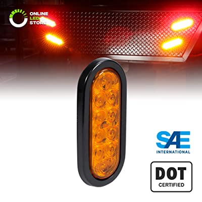 "6"" Amber Oval LED Trailer Tail Light [DOT FMVSS 108] [SAE I6] [Grommet & Plug Included] [IP67 Waterproof] [Park & Turn Signal] Marine Trailer Lights for Boat Trailer RV Trucks: Automotive"