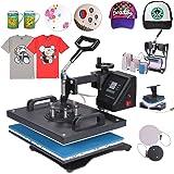 Chaneau Presse à Chaud Transfert Press Machine 8 En 1 Multifonctionnel Machine De Transfert Sur T-shirt Tasse Chapeau Cap Platet (8 En 1)