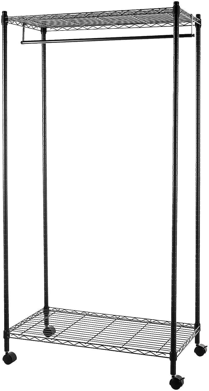 AmazonBasics Garment Rack with Top and Bottom Shelves - Black WI-GAR1836B