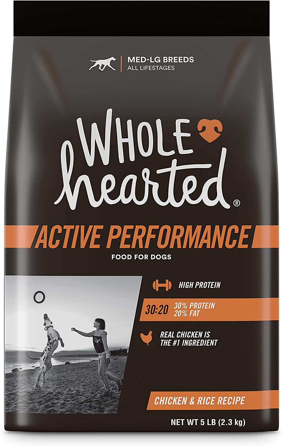 Wholehearted Active Performance High-Protein Chicken & Rice Recipe Dry Dog Food, 5 lbs.