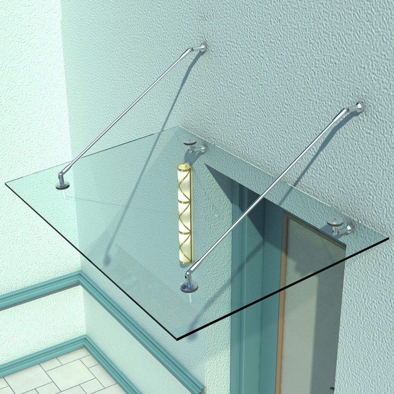 Vordächer Glasvordach Typ/std 120x90cm Vordach Vsg Türvordach Haustür Inkl Edelhalterung Kunden Zuerst