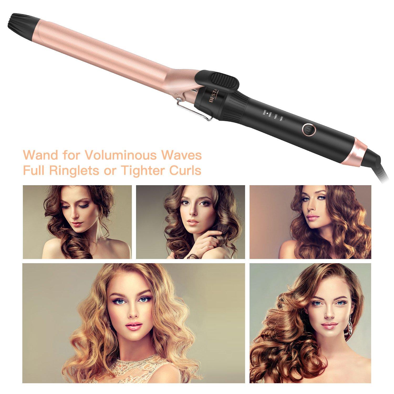 BESTOPE Pinzas de rizado 25 mm Cerámica Turmalina Rizadores para el cabello Barril grande Curling Tong con ajuste de calor 220 W Varita de curling: ...