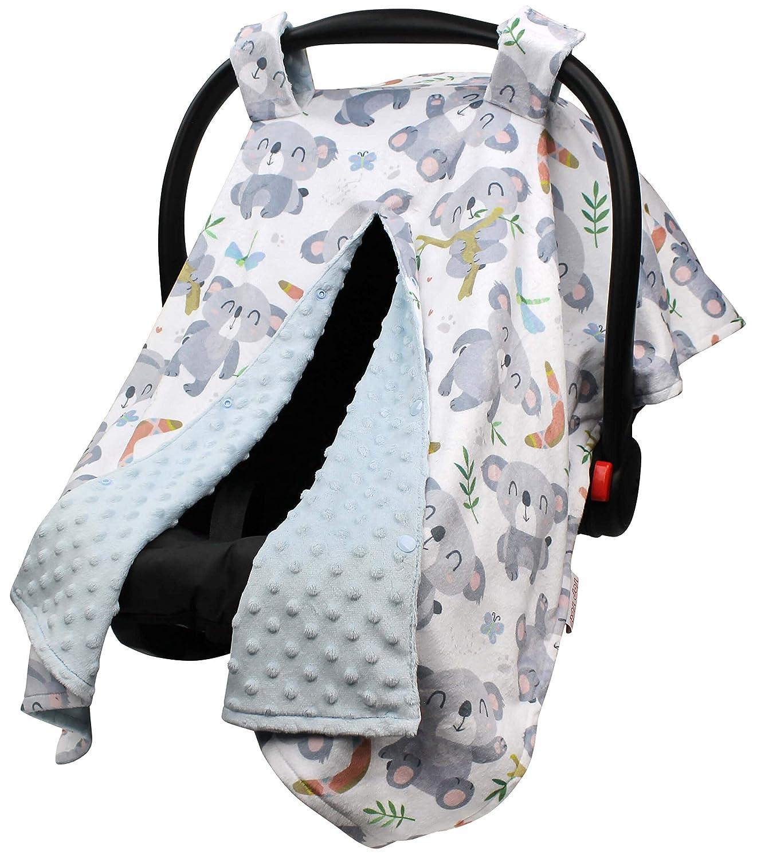 Top Tots Includes 1-Year Warranty, Panda and Koala Bear Collection, Deluxe Car Seat Canopy, Baby Koala Bears & Butterflies with Light Blue Minky Dot, 40 by 29 Inch