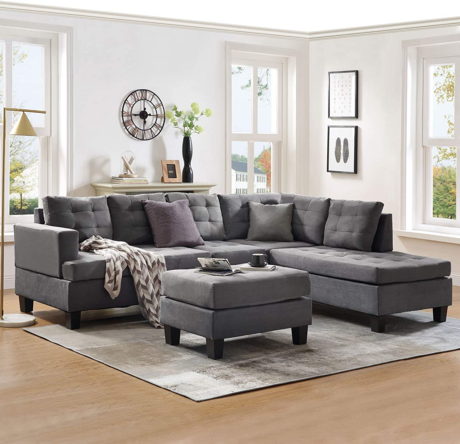 Sectional Sofa Sets 10-seat with Chaise Lounge and Storage Ottoman for  Living Room Furniture Sofas Sets (Gray)