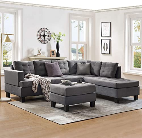 Sectional Sofa Sets 3-seat with Chaise Lounge and Storage Ottoman for Living Room Furniture Sofas Sets Gray