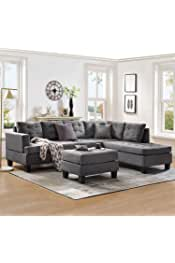 Harper & Bright Designs Sofa Sectional Sets 3-seat with Chaise Lounge and Ottoman Living Room Furniture Sofas