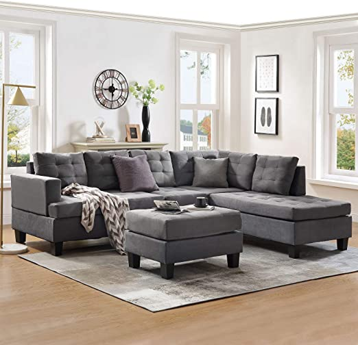 Harper & Bright Designs Sectional Sofas for Living Room 3-Seat Sofa Couch  with Ottoman and Chaise Lounge Living Room Furniture Sets