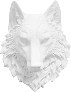 Near and Deer Faux Taxidermy Wolf Head Wall Mount, White