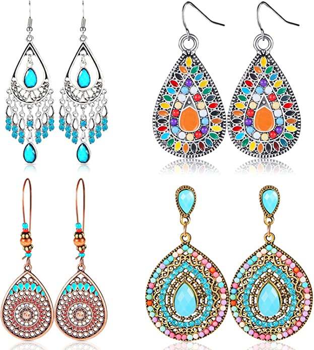Colorful Bohemian Feather Dangle Drop Earring Gifts for Women Girls Jewelry000001000532
