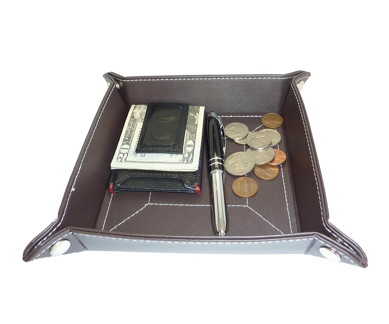 amazoncom dark brown leather mens catchall change key wallet coin box tray storage valet home u0026 kitchen