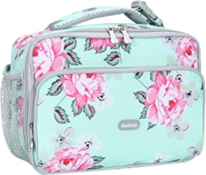 Amersun Lunch Box for Women,Sturdy Insulated Lunch Bag with Padded Liner Keep Food Warm Cold for Long Time, Thermal Lunch Cooler for Girls Adults Work Travel (2 Pocket,Peony Light Blue)