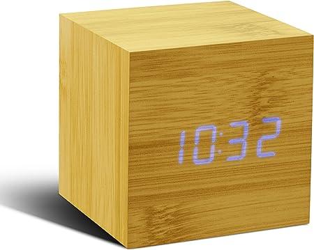 Gingko GK08B11 Click Clock Réveil Cube Effet Hêtre LED Bleu