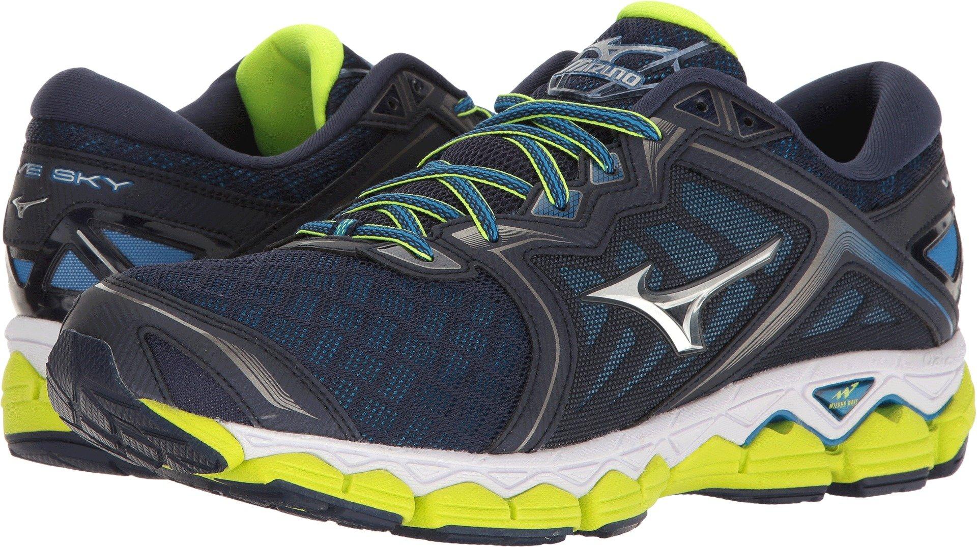 Mizuno Men's Wave Sky Running Shoe, Peacoat/Silver/Safety Yellow, 10.5 D US