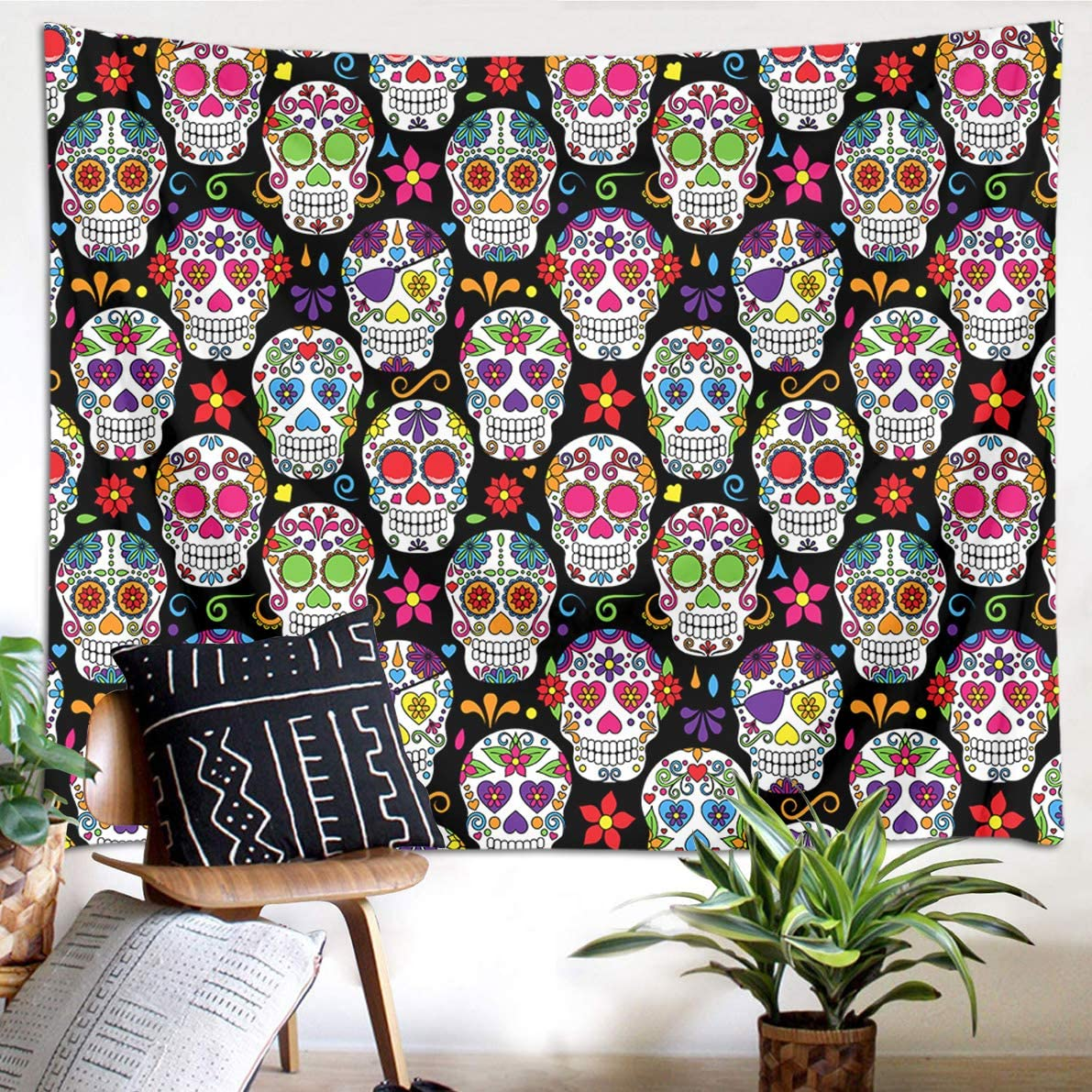 LB Sugar Skull Tapestry Day of The Dead Theme Hippie Bohemian Skulls with Flowers Funny Mexican Wall Tapestry for Bedroom Living Room Home Decor 93 Wx71 L
