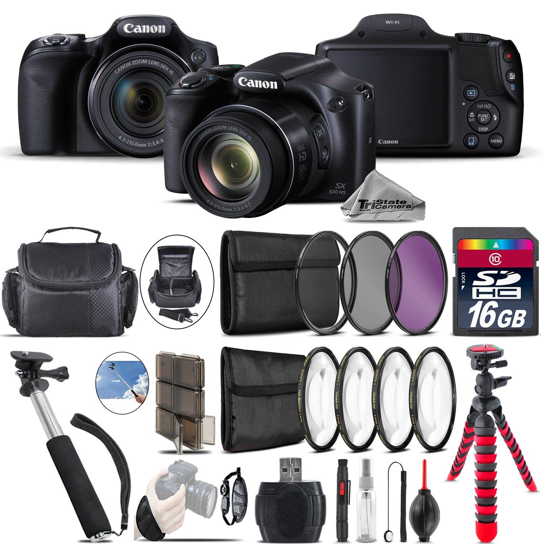 Canon PowerShot SX530 HS Digital Camera 9779B001 + Backup Battery + 16GB Class 10 Memory Card + Macro Filter Kit + UV-CPL-FLD Filters + 43'' Monopod Selfie Stick - International Version