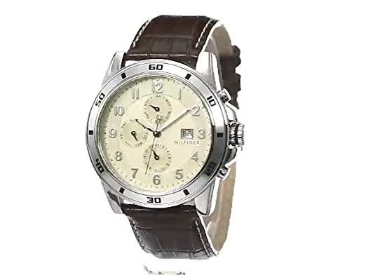 bfd322275b7 Amazon.com  Tommy Hilfiger Men s 1790739 Sport Parchment Dial with Brown  Croco Strap and Multi Eye Dial Watch  Tommy Hilfiger  Watches