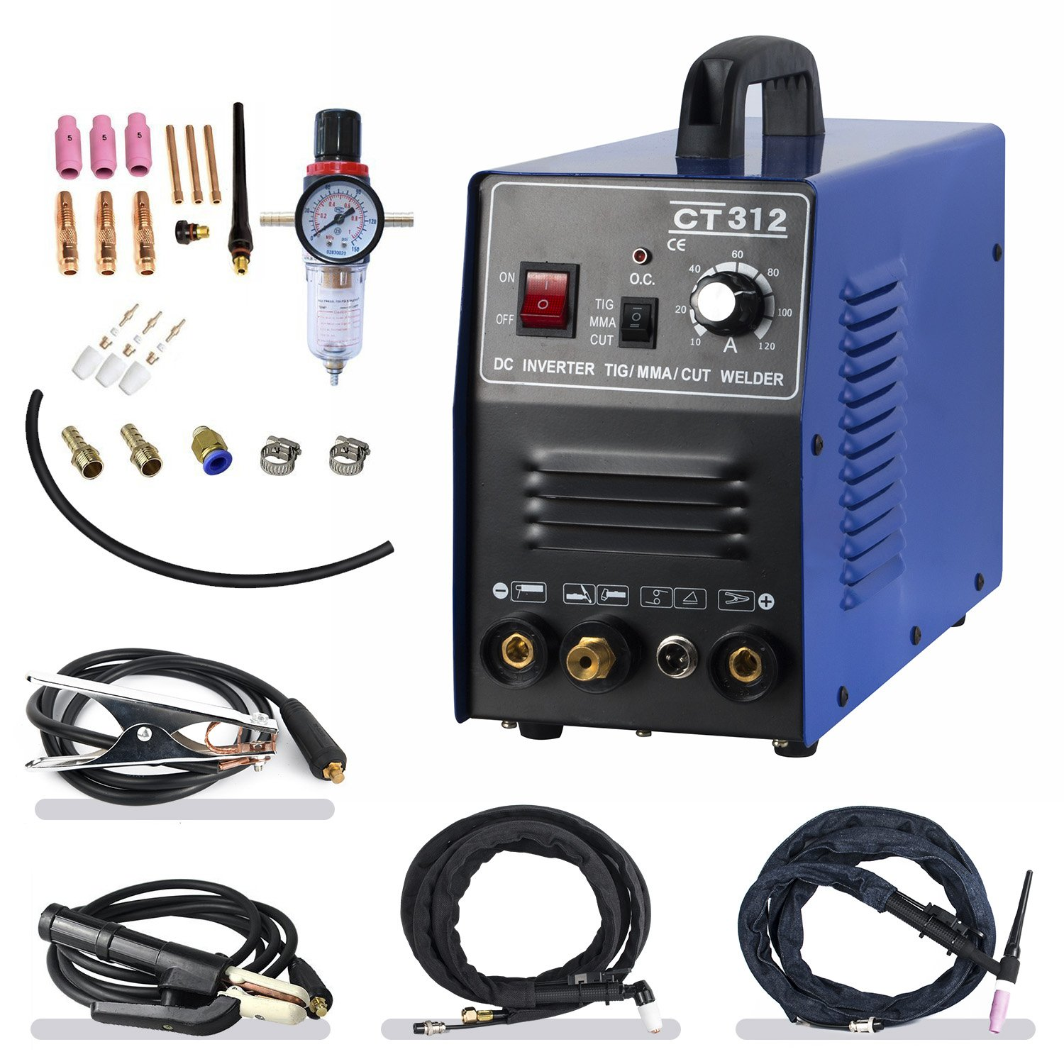 TIG/ MMA Air Plasma Cutter - Tosense CT312 3 in 1 Combo Welding Machine,120A TIG/ MMA , 30A ARC Plasma Cutter Dual Voltage 220V/110V by Tosense