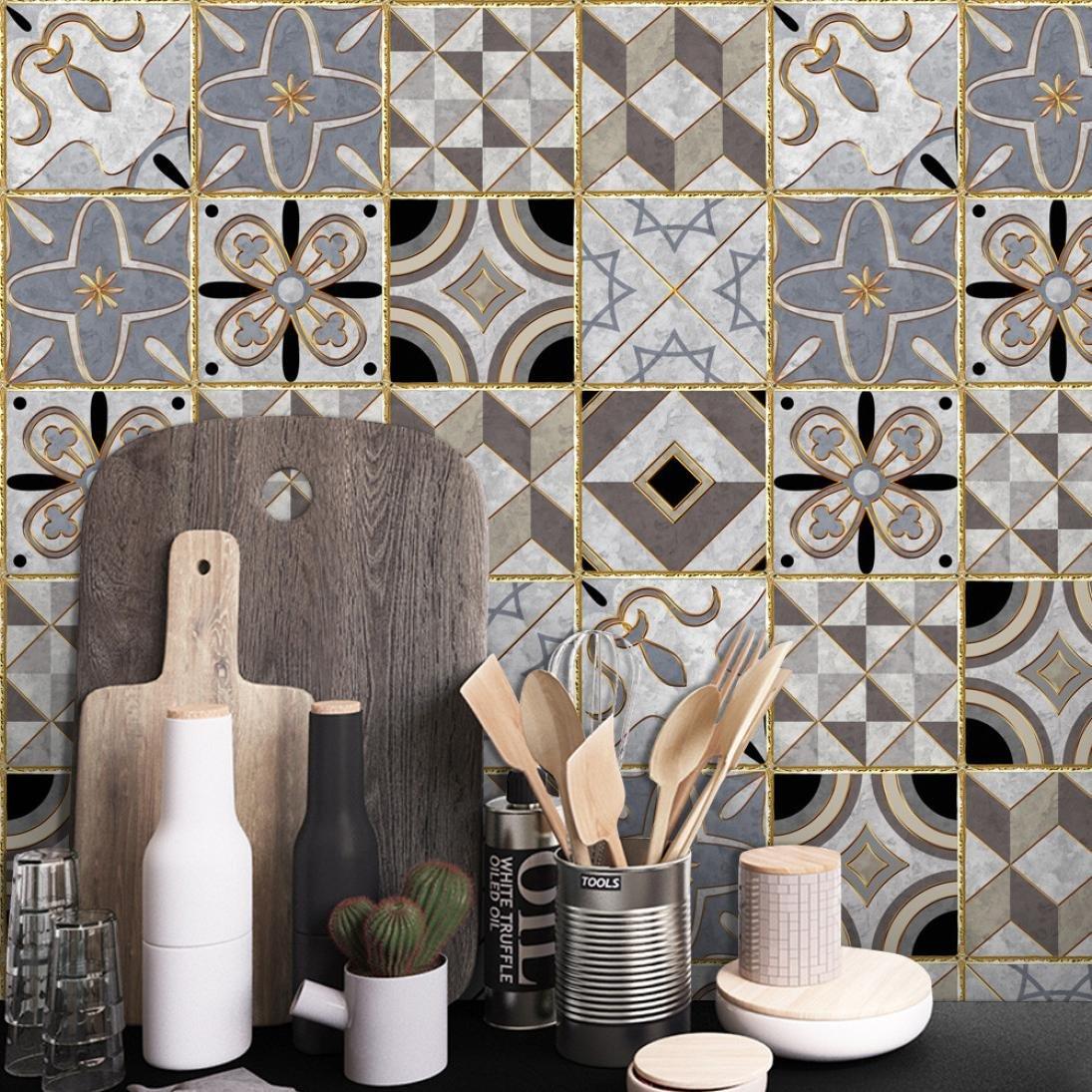 STRIR Adhesivo para azulejos 500cm x 20 cm - Adhesivo decorativo para azulejos para bañ o y cocina - Stickers azulejos - Collage de azulejos - Estilo europeo tradicional (R)