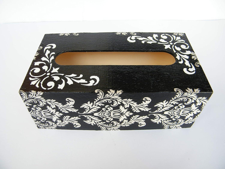 Caja de Pañuelos Blanco y Negro, Porta Toallitas Faciales, Caja de Madera Cubo Dispensador de Papel Servilletas Ariel Damask 25x13x8 cm: Amazon.es: Handmade
