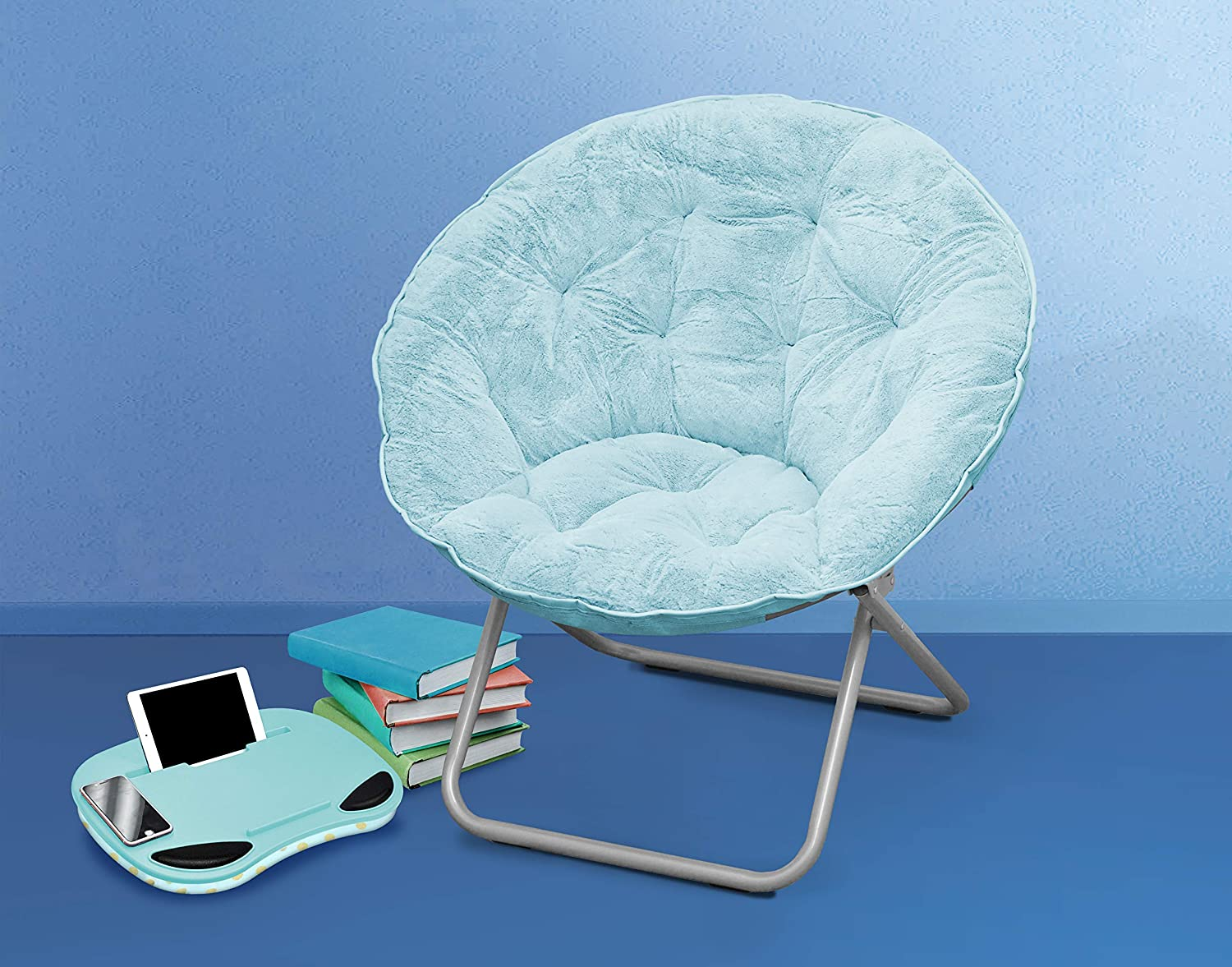 Urban Shop Light Blue Faux Fur Saucer Chair