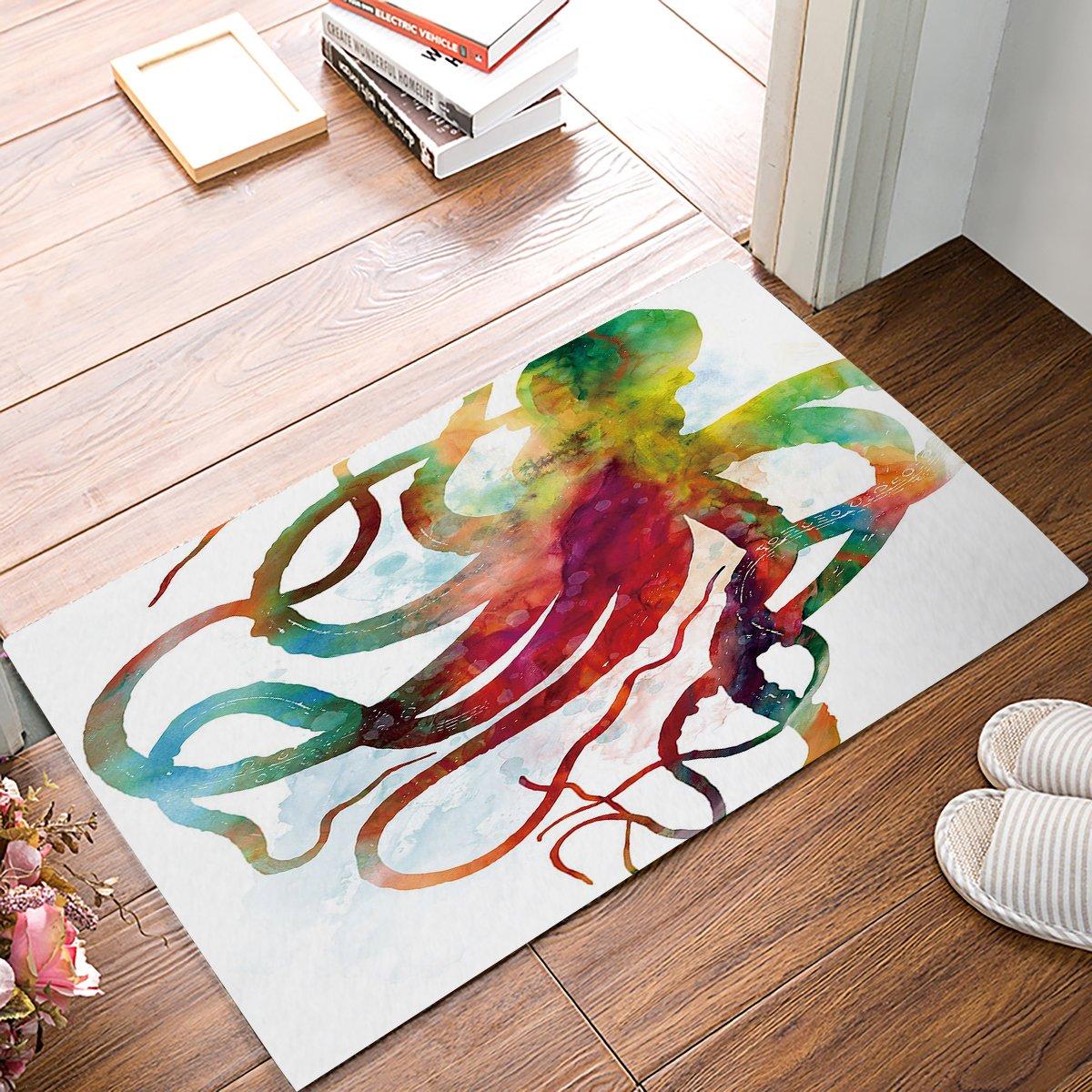 YEHO Art Gallery Indoor Outdoor Door Mat Welcome Mat Bath Mat Entrance Rug Floor Mats Shoe Scraper Doormat, Abstract Colorful Octopus Art Ocean Animal Design, 20x31.5 Inch