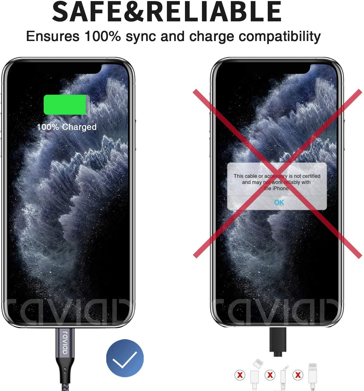 5pack 0.25M 0.5M 1.2M 1.8M 3M Cable Cargador iPhone MFI Cable Lightning Carga R/ápida Trenzado de Nylon Cargador iPhone Compatible con Apple iPhone 11 XS MAX XR X 8 Plus 7 Plus 6S 6 Plus 5 5C SE iPad