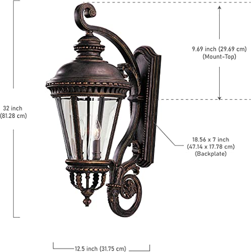 Feiss OL1904GBZ Castle Outdoor Patio Lighting Wall Lantern, Bronze, 4-Light 13 W x 32 H 240watts