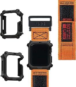 UAG Apple Watch Band 44mm 42mm, iWatch Series 6/5/4/Watch SE Replacement Strap, Active Orange + Apple Watch Case 44mm, iWatch Series 6/5/4/Watch SE Protective Bumper Case, Black/Black