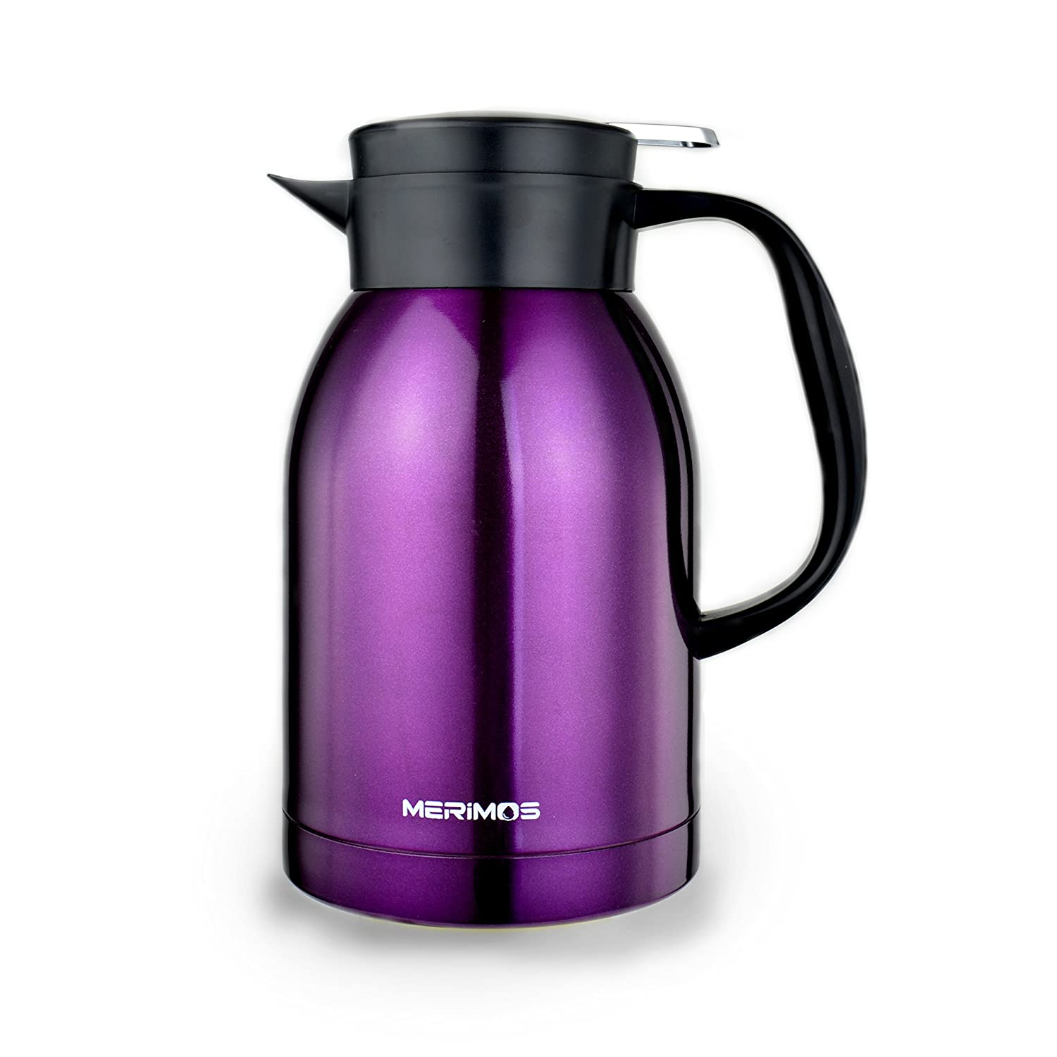 Merimos Coffee Carafe,68 Oz Double Wall Vacuum Insulated Stainless Steel Thermal Carafe for Tea Coffee Fruit Juice 2 Liter Water Pitcher with Lid Silver