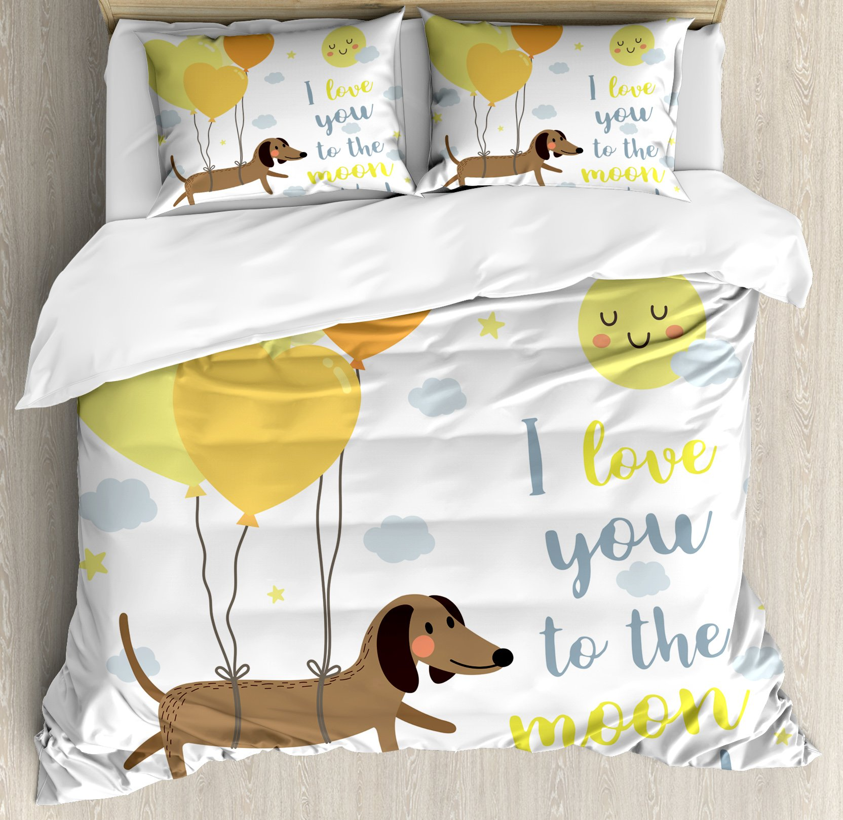 I Love You King Size Duvet Cover Set by Ambesonne, Cute Dog with Balloons and Hearts Sun Clouds Puppy Baby Best Friends, Decorative 3 Piece Bedding Set with 2 Pillow Shams, Yellow Cocoa Blue Grey