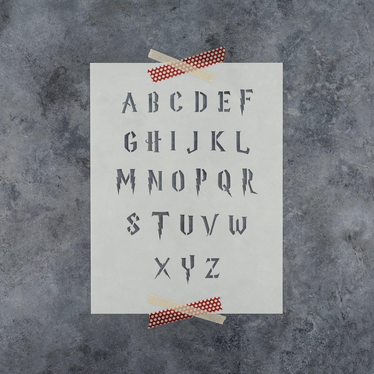 Letter Stencils Kit in Harry Potter Style - Full Plastic Alphabet Stencil Set - Durable 10 Mil Mylar (1'' Full Set)