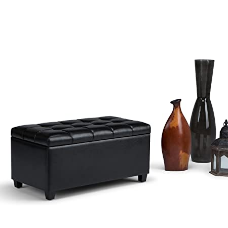 Simpli Home AXCOT-258-BL Sienna 34 inch Wide Traditional Storage Ottoman in Midnight Black Faux Leather